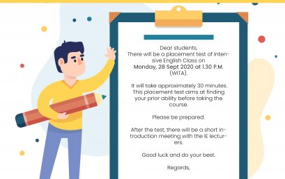Placement Test and Meet & Greet Team of Intensive English Lecturer.